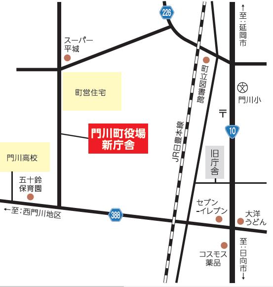 役場新庁舎位置図