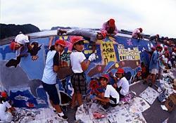庵川防波堤壁画