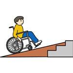車いすと階段のイラスト